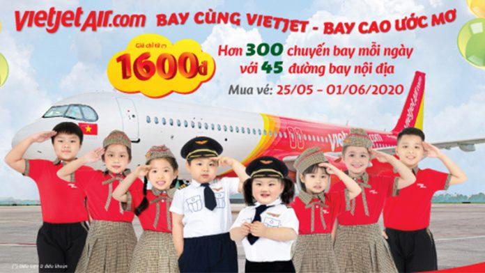 Khuyến mãi Vietjet Air chỉ từ 1.600 đồng nhân ngày 1/6