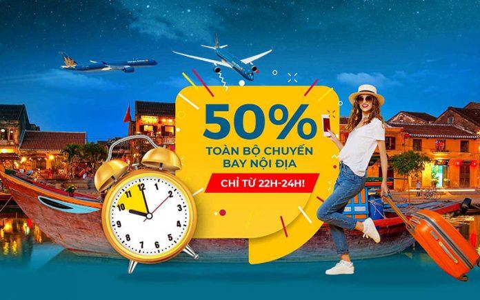 Khuyến mãi Night Sales Vietnam Airlines giảm 50% giá vé nội địa