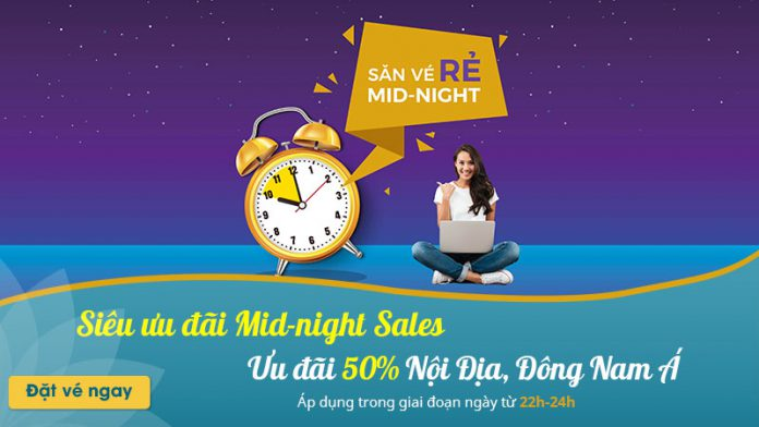Vietnam Airlines khuyến mãi giảm 50% giá vé nội địa Mid – night Sales