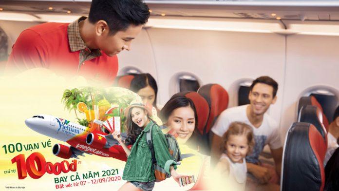 Vietjet Air khuyến mãi vé máy bay chỉ từ 10.000 VND bay cả năm