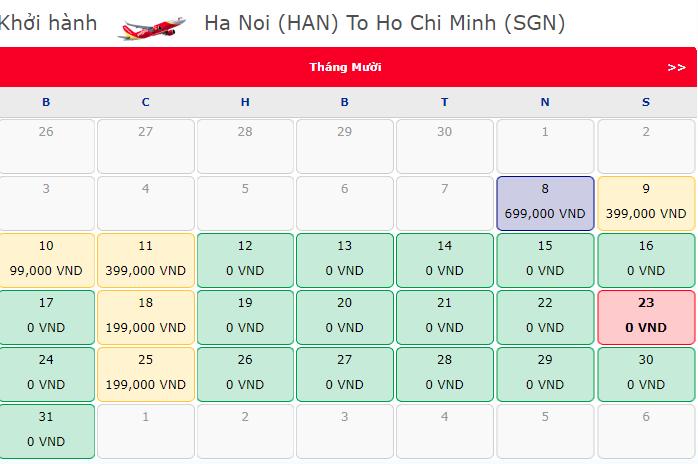 Khuyến mãi vé máy bay 0 đồng hành trình Hà Nội Hồ Chí Minh