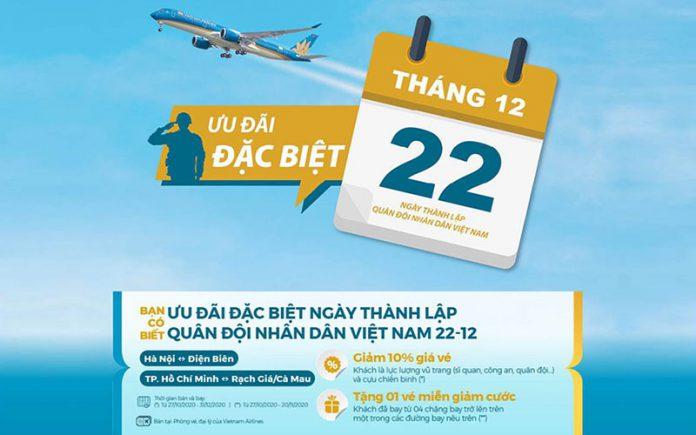 Nhân ngày thành lập quân đội Việt Nam Vietnam Airlines giảm 10% giá vé