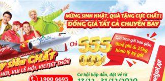 10 triệu vé đồng giá 555.000 VND khuyến mãi Mừng sinh nhật Vietjet