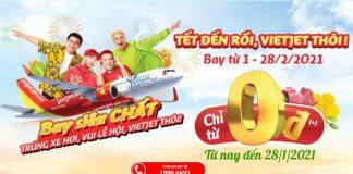 Khuyến mãi vé máy bay Tết Vietjet Air chỉ từ 0 đồng rộn ràng du xuân