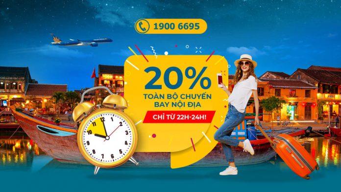Mid Night sales Vietnam Airlines khuyến mãi 20% giá vé
