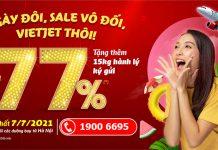 Ngày đôi 7/7 Vietjet Air sale 77% giá vé máy bay